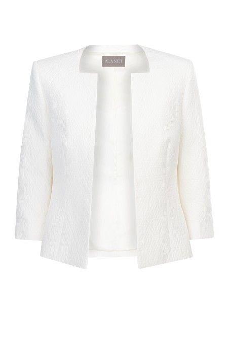 Ivory Textured Short Jacket