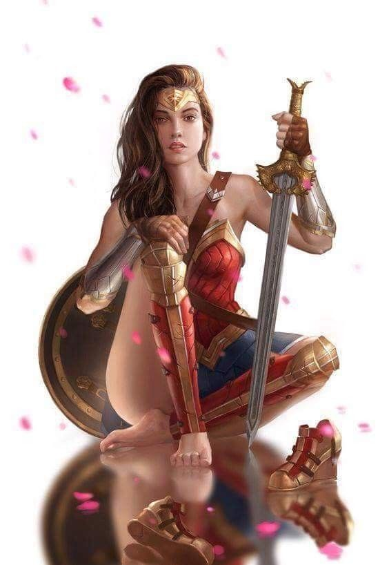 Different Wonder Woman pose than normally seen. Love the shoes off.