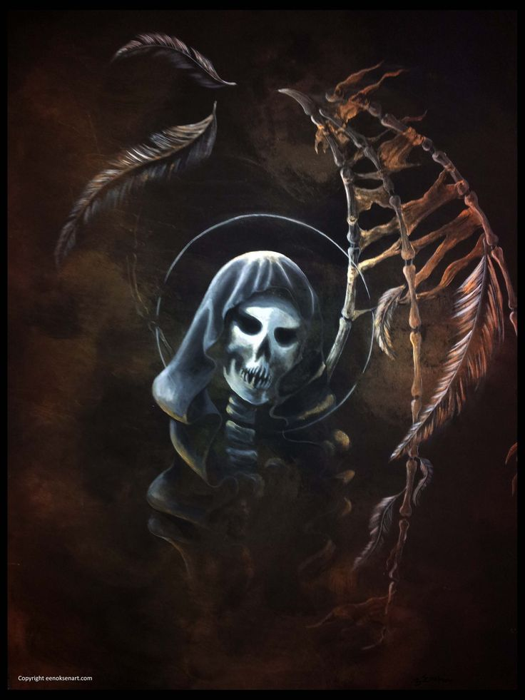 Angel of Death. Acrylic painting.