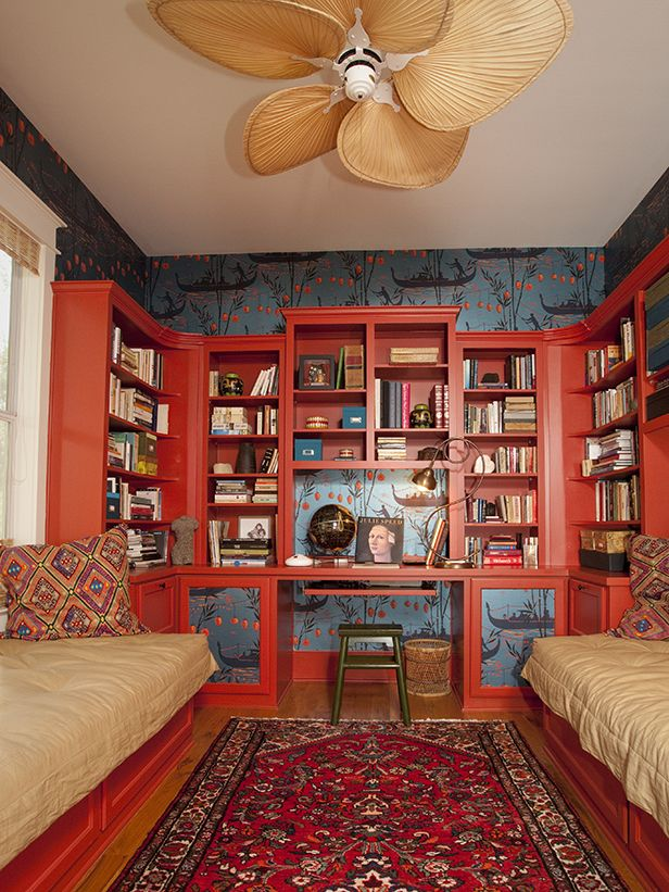 Love this cozy reading space! | @HGTV Shawn Colvin's home library from Celebrities at Home #library #readmorebooks