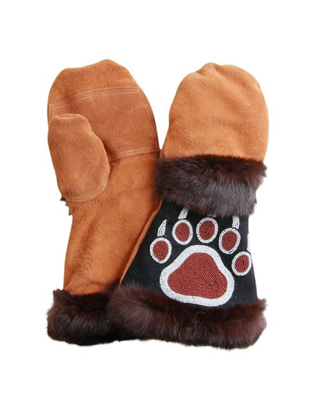 Beaded fur gauntlet mittens