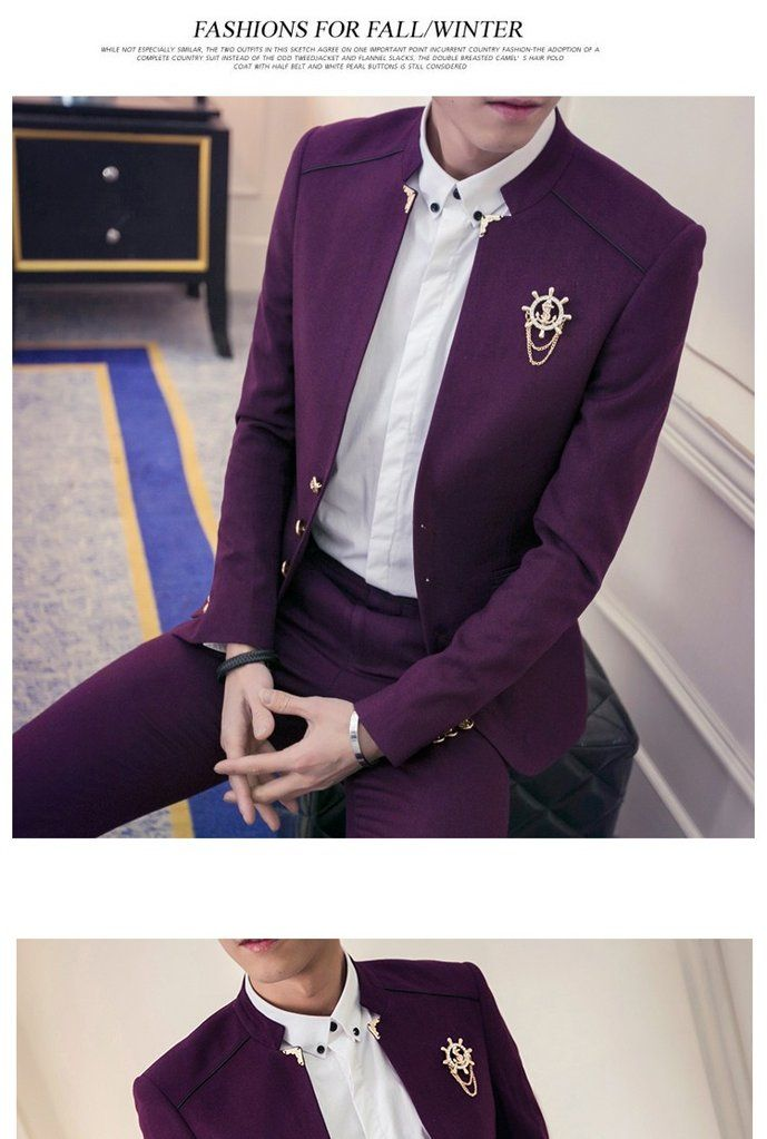 New 2PCS/Set Slim Fit Men Wedding Suits Classic Party Dress Suits Boys Jacket with Pants