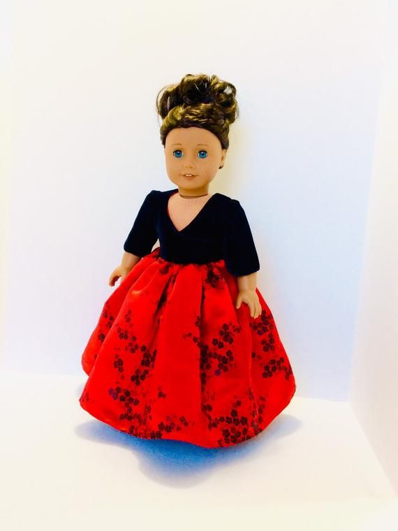 Red and Black Evening Gown, AG Doll Clothing, 18 Inch Doll Clothing, Made To Fit American Girl Doll