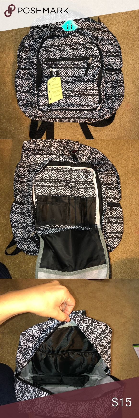 Black and white Aztec backpack Black and white Azt…