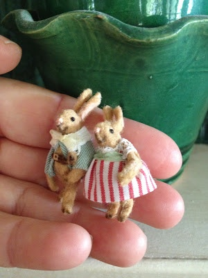 Darling mini bunny pair by MINIATURES and Co