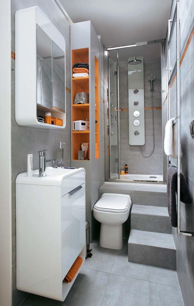 Bagno luminoso, bianco e arancione