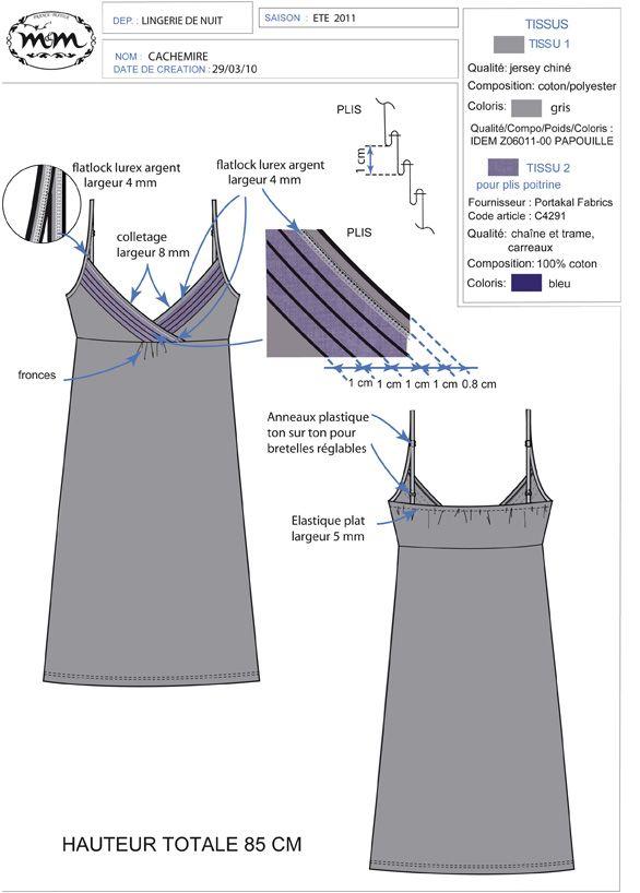 Elodie Aubry, Styliste / Infographiste Textile Portfolio : Corseterie/ Linge de nuit femme