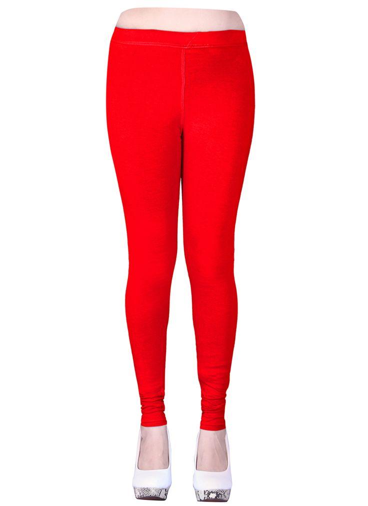 Red Cotton Casual Wear Plain Leggins