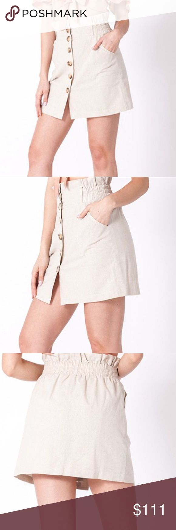 NWT Button Down Mini Skirt Super comfy  Button front down skirt  Has two side po…