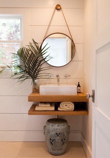 teak wood double-shelf, single bathroom vanity – Kathleen di Paolo Designs via Atticmag