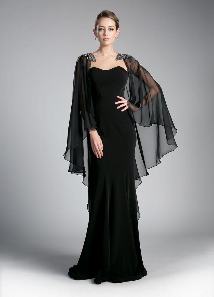 Long Black Cape Dress by Cinderella Divine 11435 in 2019