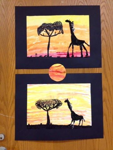giraffe in the african savanna-2nd grade-silhouettes - Art with Mr. Giannetto blog.... could do with emus