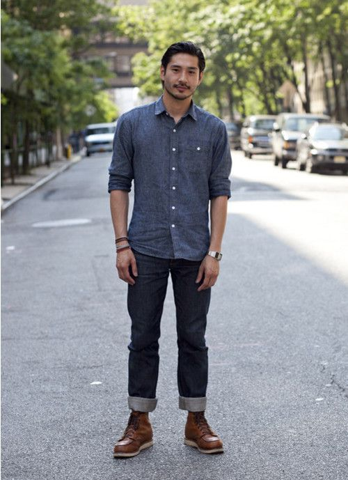 This combination of a blue chambray longsleeve shirt and dark blue jeans is perfect for off-duty occasions. Why not introduce brown leather boots to the mix for an added touch of style?  Shop this look for $131:  http://lookastic.com/men/looks/blue-chambray-longsleeve-shirt-and-navy-jeans-and-brown-leather-boots/67  — Blue Chambray Longsleeve Shirt  — Navy Jeans  — Brown Leather Boots