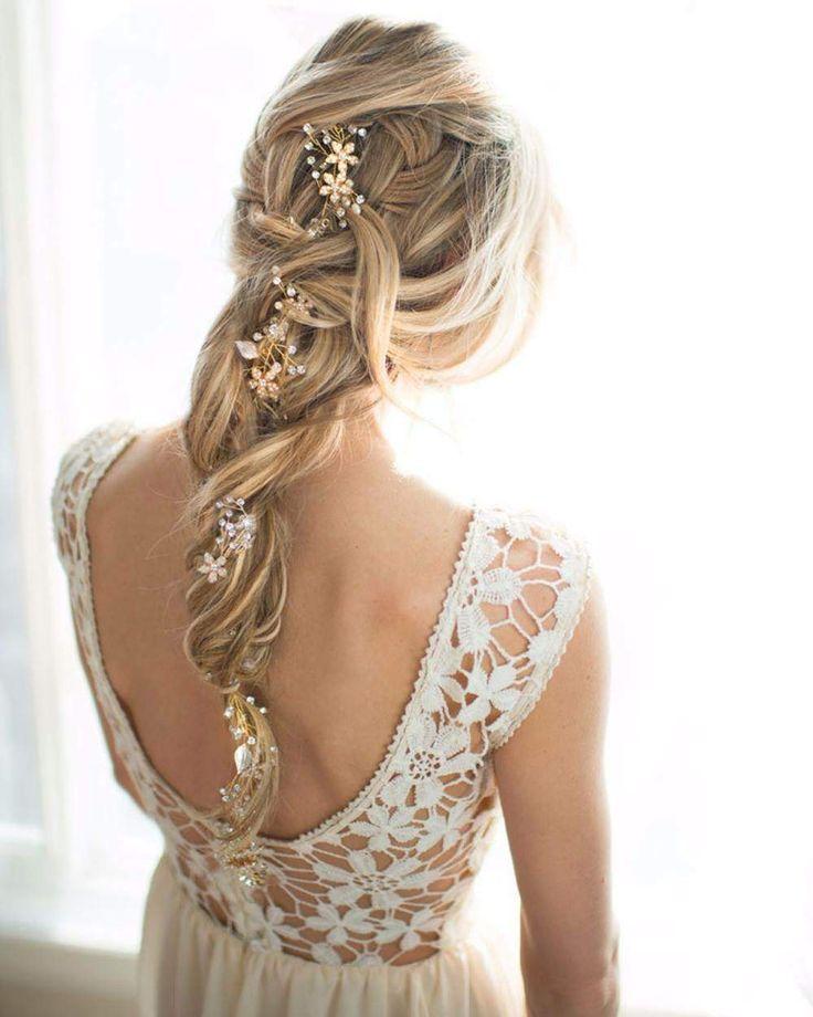 Haarjuweel bruid - Flexibel haaraccessoire - Bruidskapsel - Bridal hair accessoire - Romantic bridal hair - Bohemian bruidskapsel