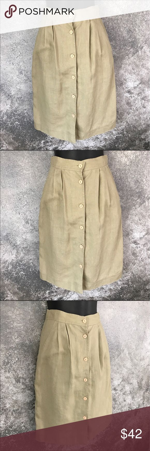 """Vintage Neumann Marcus pleated tan skirt 25"""" waist Neiman Marcus apparenza brand khaki tan button down skirt. Waist measures approximately 25."""" Length is approximately 23.5."""" Sz 6, but runs small. 100% linen. GUC. Smoke free home. Bundle with other items for more discounts. Neiman Marcus Skirts A-Line or Full"""