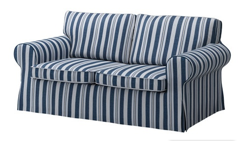IKEA Ektorp sofa bed in Abyn blue. It's hard to tell but there's some nice brown contrast pin-striping in there, too