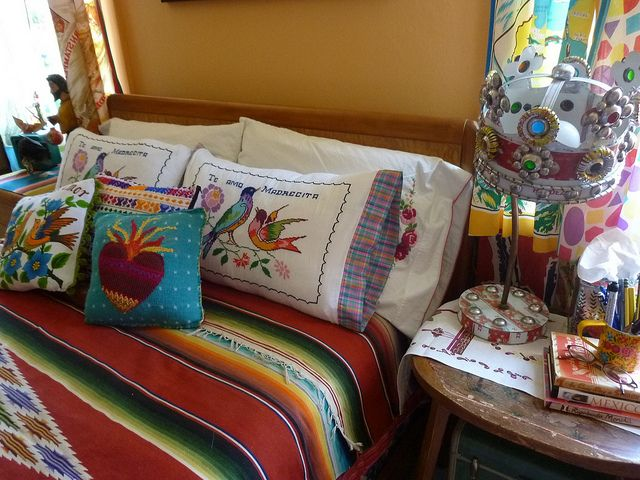 Mexican style guestroom bedding la casa pinterest Mexican embroidered bedding