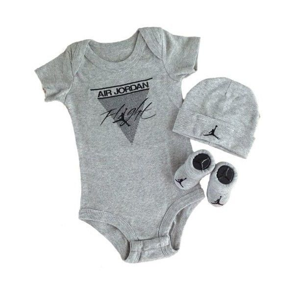 Nike Jordan Infant New Born Baby Layette 3 Piece Set ($29) ❤ liked on Polyvore featuring baby, baby boy and baby full outfits
