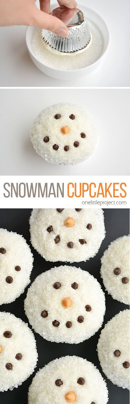 These easy snowman cupcakes would be PERFECT for a winter birthday party, a Christmas party, or just a fun baking activity with the kids! So cute and easy!