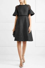 Shadow lace-paneled polka-dot jacquard dress