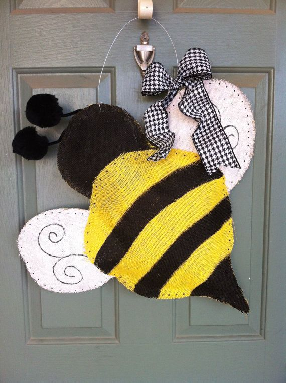 Bumble Bee burlap door hanger by theswirlgirl on Etsy, $40.00