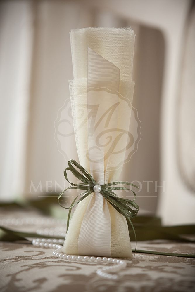 Classic weddding favor ivory tulle with grosgrain ribbons in olive oil colour and pearl. It holds 7 sugared almonds koufeta.