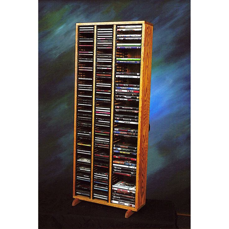 The Wood Shed Solid Oak 160 CD and 64 DVD Media Tower with Individual Locking Slots - 312-4 CD/DVD