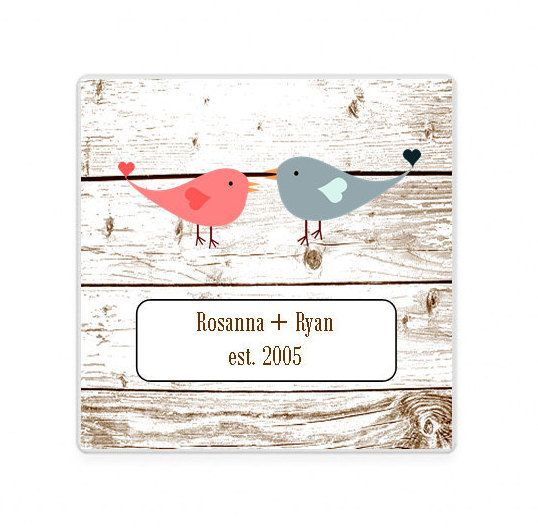 Love Birds Drink Coasters, Bird House, Housewarming Gift, Wedding Favor, Stone Coasters, Custom Coaster, Anniversary Gift, Rustic Home Decor by AdelynRoseBoutique on Etsy