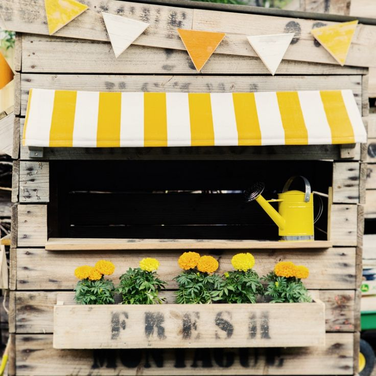 Our new Cubby House awnings. Fresh yellow and white stripe awning. A perfect little summer hideout.