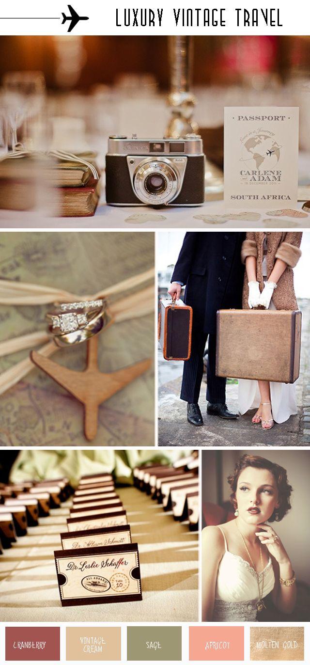 Luxury Vintage Travel Wedding Inspiration Board