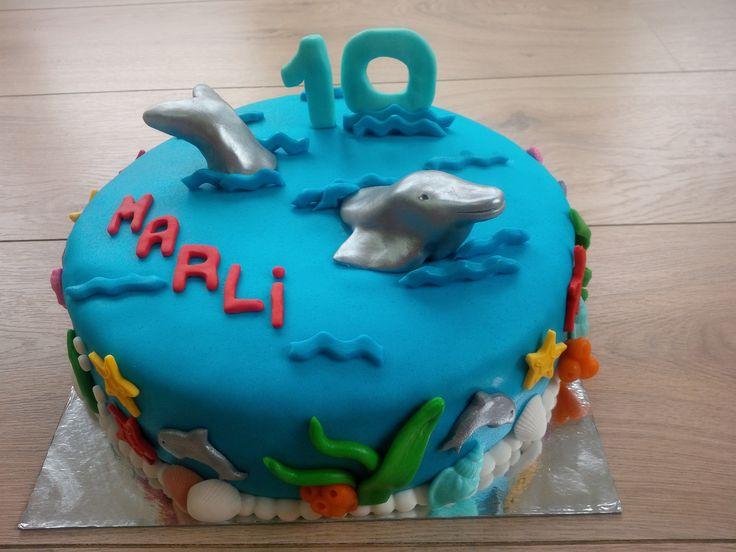 #taart #dolfijn #marsepein #fondant