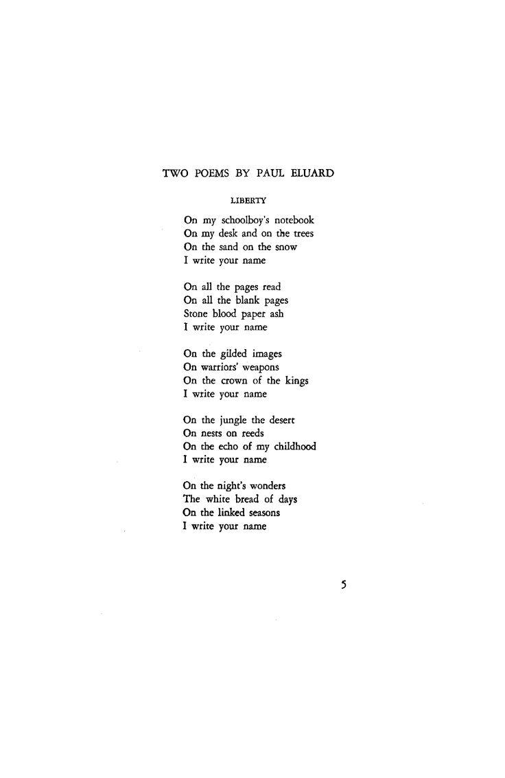 Liberty by PAUL ELUARD October 1945 : Poetry Magazine