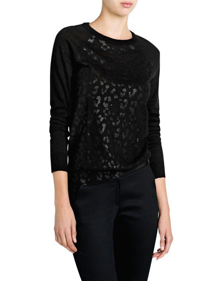 Mango black leopard print sweater