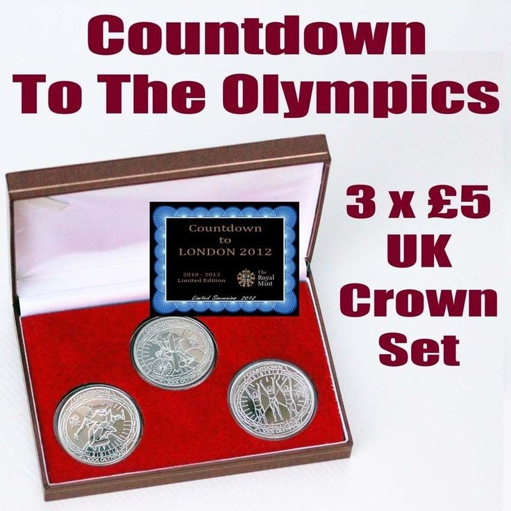 3x £5 UK Crown Coin Set Countdown to London 2010 - 2012 Olympics Limited Set COA