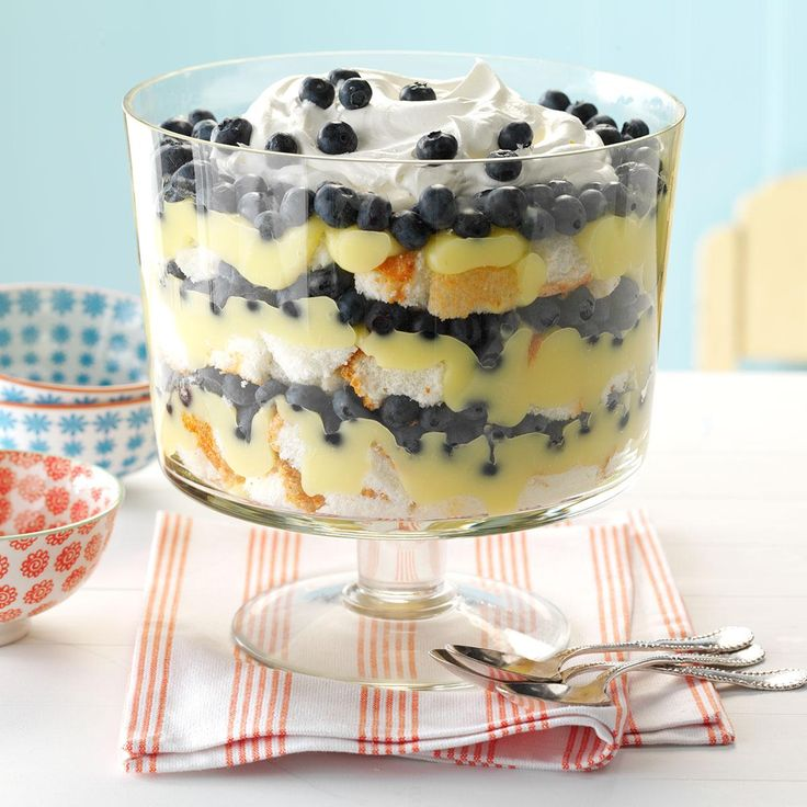 Blueberry Lemon Trifle Recipe -A refreshing lemon filling and fresh blueberries give this sunny dessert sensation plenty of color. Don't worry about heating up the oven—this trifle doesn't require baking. —Ellen Peden, Houston, Texas