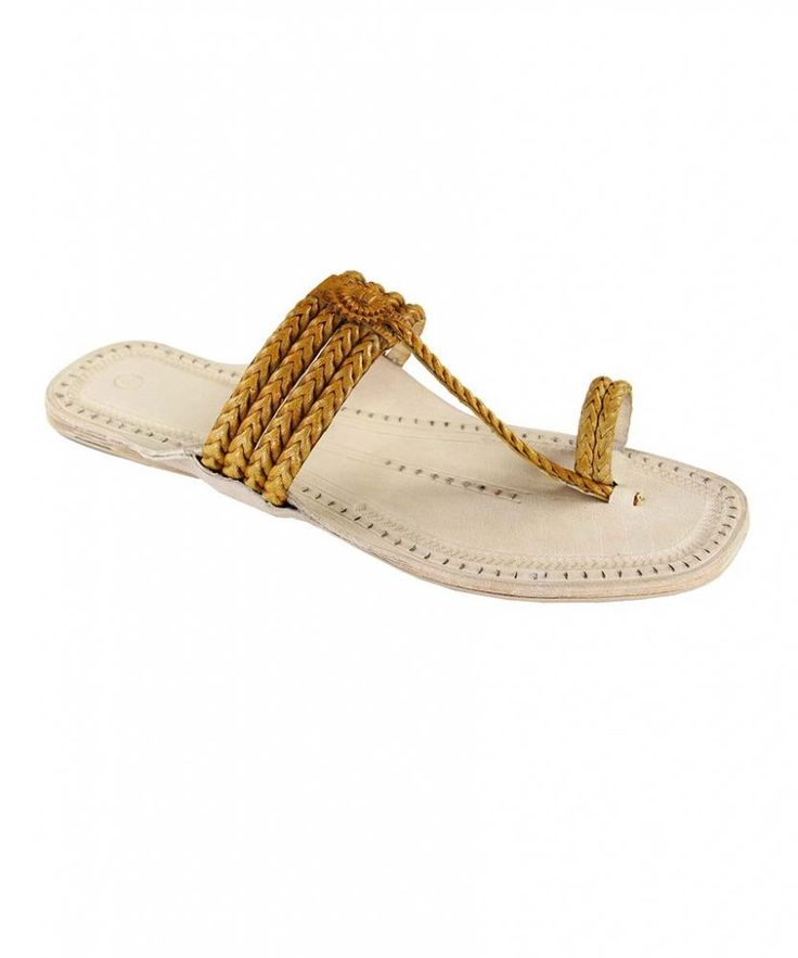 Four braided  and light yellow  upper handcrafted ladies sandal