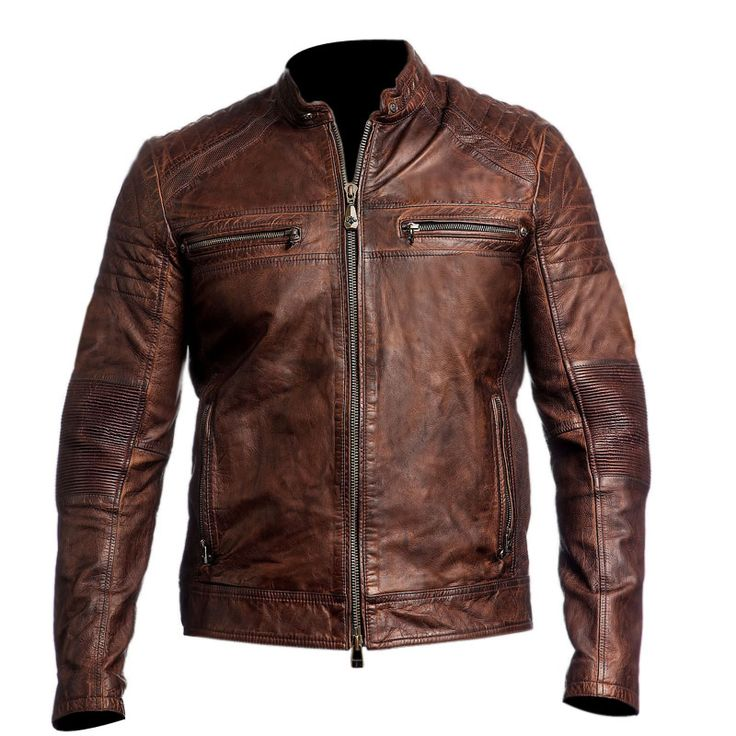 Mens Biker Kevlar reinforced vintage motorcycle distressed brown cafe racer leather jacket