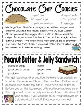 SEQUENCE OF EVENTS RECIPE BOOK - TeachersPayTeachers.com