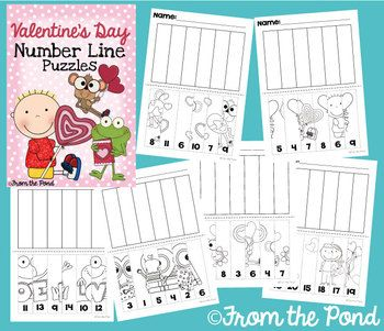 Valentine's Day Number Line Puzzles - 6 Worksheets