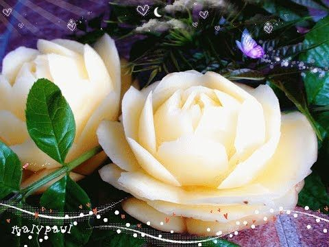 Art In Potato Flower Garnish - Vegetable Carving - Potato Roses Garnish (Italypaul) - YouTube TUTORIAL