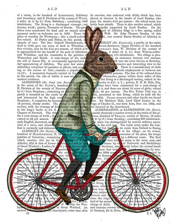 Rabbit On Bike Nursery Decor Illustration Art Print by FabFunky, $15.00