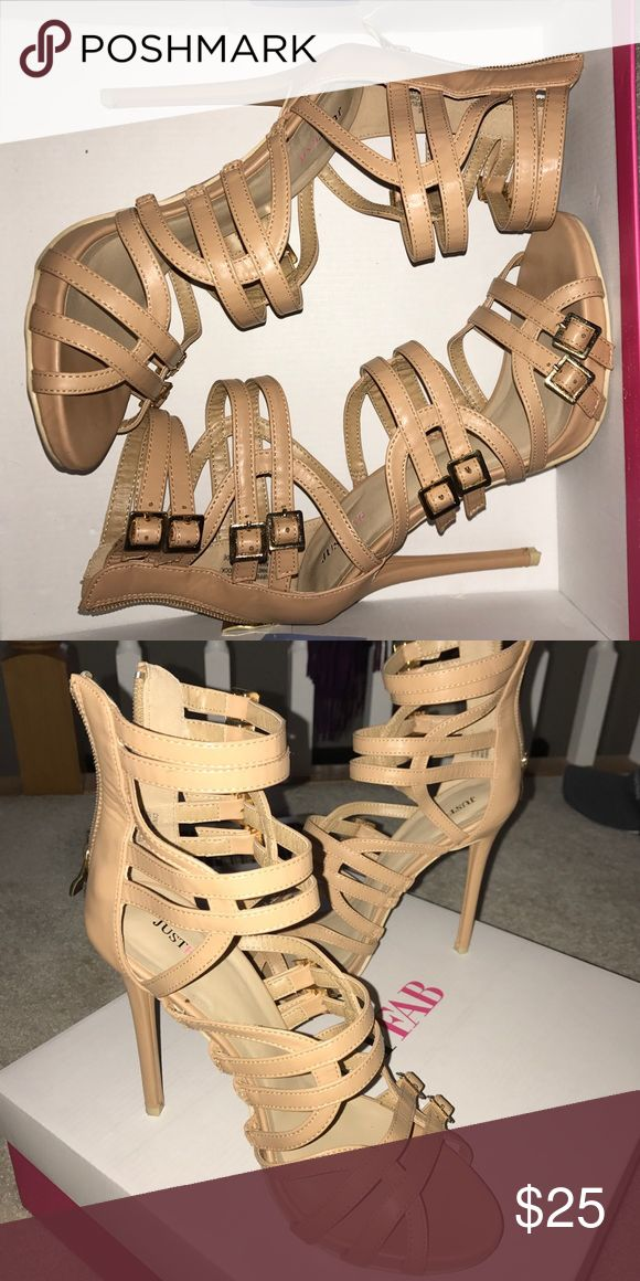 Beige strappy heels Worn once beige strappy heels with gold buckles and zipper. JustFab Shoes Heels