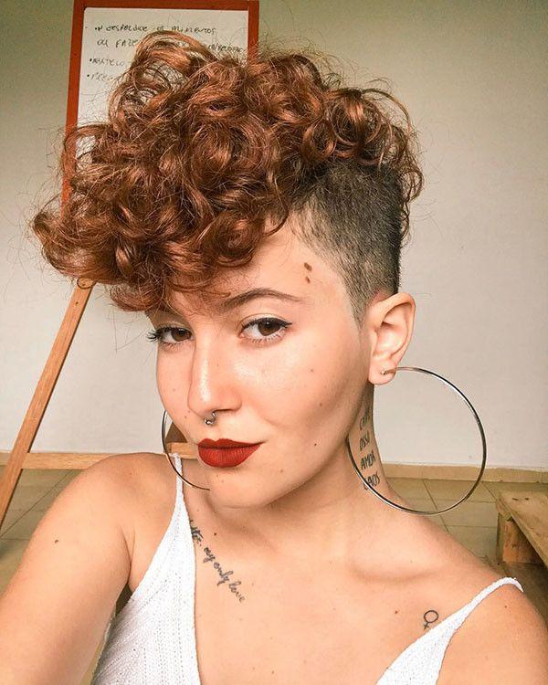 Shaved Sides Popular Short Curly Hair Ideas Curly Hair Styles Side Curly Hairstyles Short Curly Hair