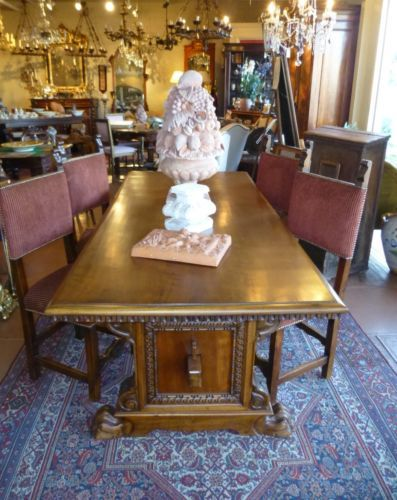 antique italian tuscan renaissance style table and 6 chairs ebay