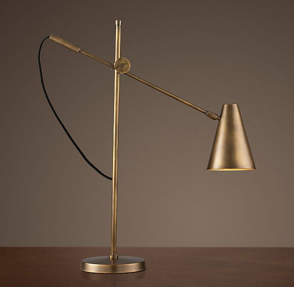 Master bedroom table lamps 20th c torpedo task table lamp vintage brass