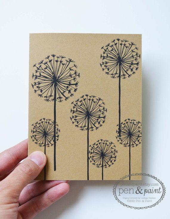 Set of Four Dandelion Folded Note Cards, Stationery, Hand Drawn, Illustration, Flowers, Floral,   Original Artwork by Lindsay Freitas Hopkins ©2012 Pen & Paint  Notecards, Greeting Cards