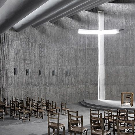 This looks like the architecture out of Equilibrium. Despite the fact that it's concrete, it looks like there's plenty of natural lighting. I can appreciate the use of wood chairs, to offset the hardness of the concrete, but I feel like it ends up feeling like a sanitarium, rather than a sanctuary.