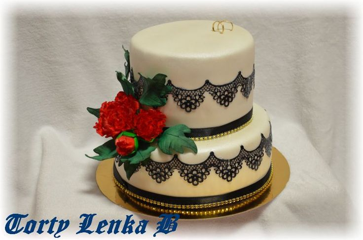 white black wedding cake with peony