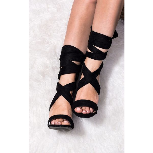 SpyLoveBuy Elektra Lace Up Block Heel Sandals Shoes   Black Suede... ($46) ❤ liked on Polyvore featuring shoes, sandals, black, lace-up sandals, black heel sandals, lace up heel sandals, black high heel sandals and black peep toe sandals