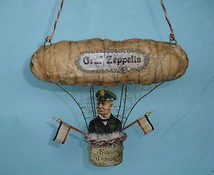 Alter-Christbaumschmuck-Watte-Zeppelin-mit-Graf-Zeppelin-um-1914